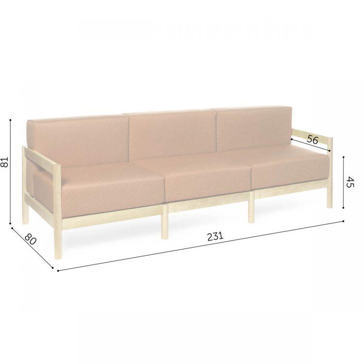 3-seater rahu sofa dimensions